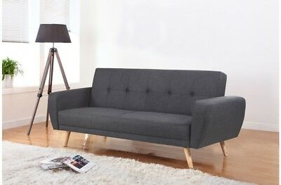 Birlea Farrow Large Grey Fabric Sofa Bed - 2 Seater, Wooden Legs, Contemporary