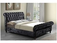 LIMITED TIME PROMO OFFER* CRUSHED VELVET FABRIC SLEIGH DOUBLE SIZE BED FRAME IN BLACK, GOLD & SILVER