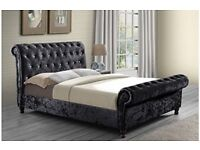 🔥💗🔥SAME DAY CASH ON DELIVERY🔥🔥BRAND NEW DOUBLE/KING DIAMOND CRUSHED VELVET SLEIGH BED &MATTRESS