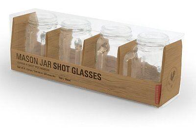 Mason Jar Glasses With Handles (Kikkerland Glass Mason Jar Shot Glasses with handles, Set of 4 holds 1 oz)