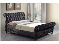 ◄❤Black, Cream and Silver❤►Brand New 4FT6 Double/5FT King Diamond Crushed Velvet Sleigh Designer Bed