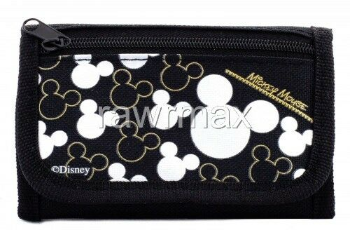 Brand New Disney Mickey Mouse Wallet Tri Fold Kids Licensed NWT- Black Silver