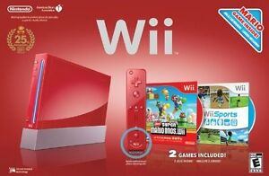 NINTENDO Wii RED NEW IN BOX + 2 GAMES