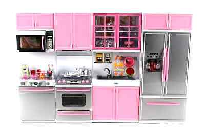 Deluxe Modern Kitchen Battery Operated Toy Kitchen for Dolls Butter up set, Girls New
