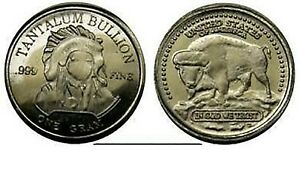 999 Tantal Tantalum Münze Buffalo Indian Edelmetall Seltene Erden SELTEN NEU