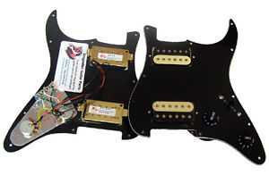 Dragonfire Prewired-Loaded Strat Pickguard HH 2 Humbucker, 3 Ply Black/Zebra