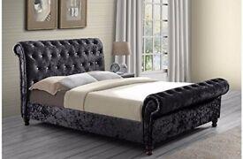 💖🔥💖💥UK Top Quality Brand💖🔥💥 Brand New Double/King Crushed Velvet Sleigh Designer Bed+Mattress