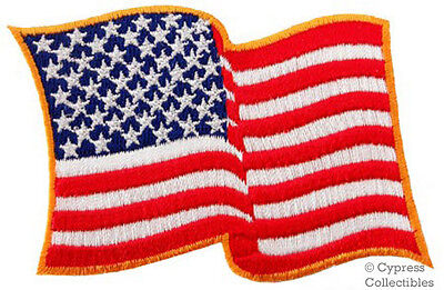 AMERICAN FLAG EMBROIDERED PATCH iron-on GOLD WAVING USA applique UNITED STATES