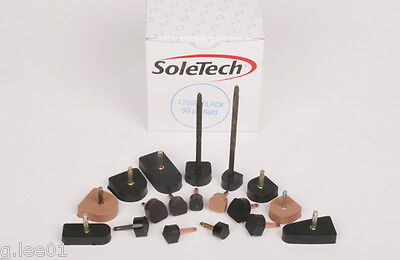 14mm x14mm Black Shoe Stiletto High Heel Sole Repair Cap End Tip Pin Like Rubber