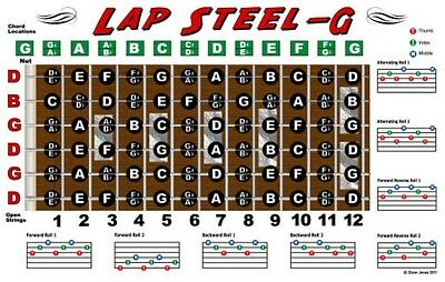 Lap Steel Guitar Fretboard Wall Chart Poster Open G Tuning Notes Rolls -