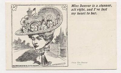 1908 Denver Post Adv City Miss Denver Postcard Pc4916