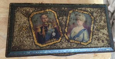 1910 - 1935 King George Queen Mary Eve Silver Jubilee Tin