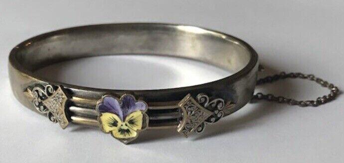 Antique Enamel Flower Hinged Bangle Bracelet Purple Yellow