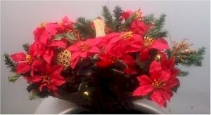 ***Christmas Poinsettia Basket Centerpiece***