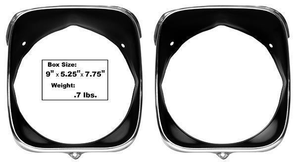 1969 Chevelle & El Camino Headlamp Bezels Inner & Outer - LH New Dii