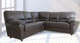 BRAND NEW LEATHER BROWN CORNER SOFA + DELIVERY