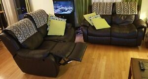 Two Brown Leather Loveseat Recliners $350 or B/O