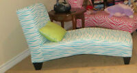 Tween/Childs Teal Zebra Print Chaise Chair