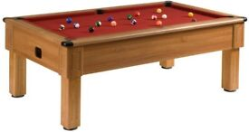 Walnut Square Leg Pool Table & Snooker Table (7x4 Slate Bed)