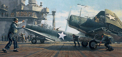 Requiem For Torpedo Eight  Gil Cohen Print Co Signed By Ww Ii Vet Bill Tunstill