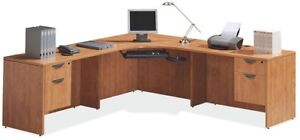 LIKE NEW! Two pedestal office desk, lockable drawers