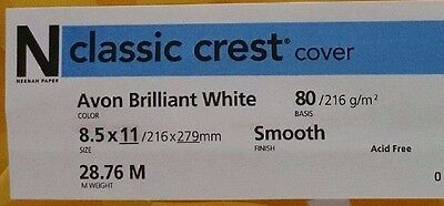 Neenah Classic Crest Avon Brilliant White Card Stock 80 lb cover / 100 pack 80 Lb Cover Classic Crest