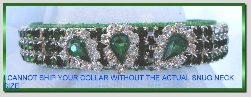 Diva In Emeralds Haute Couture Rhinestone Dog Collar 486