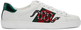 Gucci white leather, snakes and stripes ace low top trainers size 10