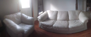 Pearl White Leather Couch Set **delivery included**