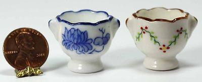 Dollhouse Miniature Set of 2 Ceramic Flower Pots