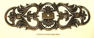 Vintage Brass Filigree Knob Back plate Center Hole Victorian Cabinet Drawer NOS