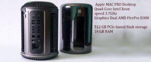 APPLE MAC PRO intel XEON 3.7ghz 16 gb, 512gb , AMD FirePro D300