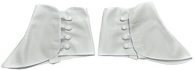 1920S ROARING 20'S WHITE VINYL SPATS GANGSTER COSTUME SHOE COVERS SPATS W/ SNAP - 1920s Gangsters