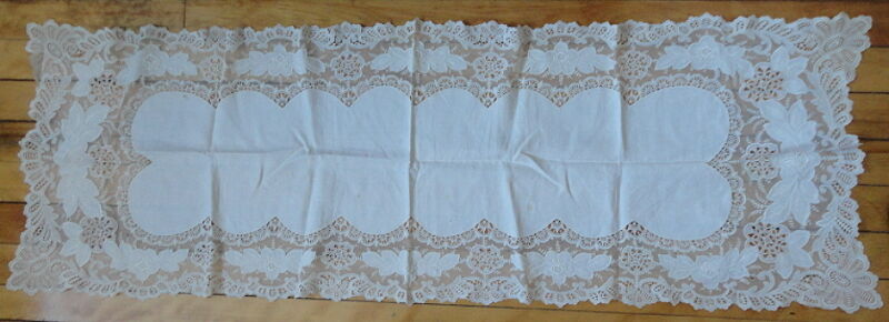 Gorgeous Antique Embroidered Cotton Lace Bureau Scarf c.1900 Possibly French