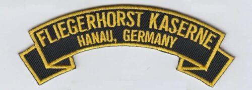 "Fliegerhorst Kaserne, Hanau Germany 4"" embroidered rocker tab patch"