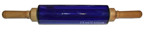 Early 1920s / 30s Depression Glass Cobalt Rolling Pin with Wooden Handles