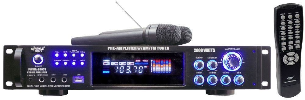 Pyle 2000W Rack Mount Pre-Amplifier AM/FM USB RCA AUX-IN Dua