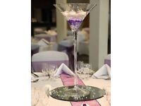 Tall martini glasses with mirror plates