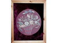 FLORAL BASKET EMBROIDERY ARTWORK PICTURE FRAMED FROM