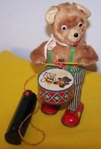 Vintage Battery Operated Barney Bear Drummer Toy