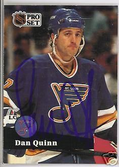 Dan Quinn 1992 Pro Set St Louis Blues  Autographed Hockey Card Jsa