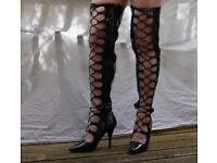 Size 9 Black thigh boots with front lace ups