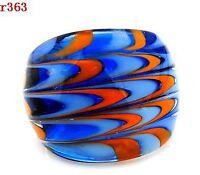 multicolor Murano Lampwork Glass Ring size #8