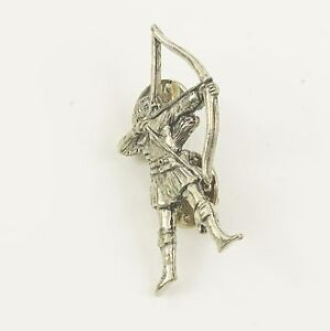 Solid English Pewter Archer Tie Pin or Lapel Badge  NEW   14885