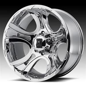 """Chevy Rims XD Series 8x6.5 20"""" Chrome Rims and tires like new"""