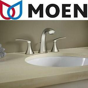NEW MOEN 2 HANDLE BATHROOM FAUCET DARCY, WIDESPREAD FAUCET, SPOT RESIST BRUSHED NICKEL FINISH, 102166376