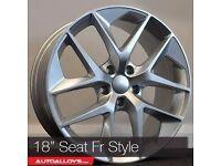 "18""SEAT FR Style Alloy wheels & Tyres LEON, A3 MK2 MK3 VW Passat, Jetta, Golf MK5, MK6, MK7, Caddy"