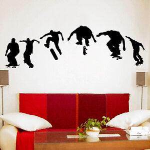 Skateboard Trick Vinyl Wall Decal Sticker Mural Kids Boy