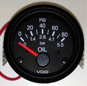 New-Oil-pressure-gauge-VDO-type-80-psi-2-52mm-12V-system-w-wire-harness
