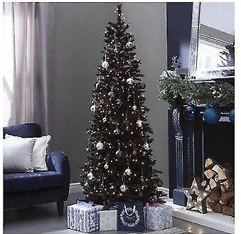 6ft 183cm black slim christmas tree Great condition £17